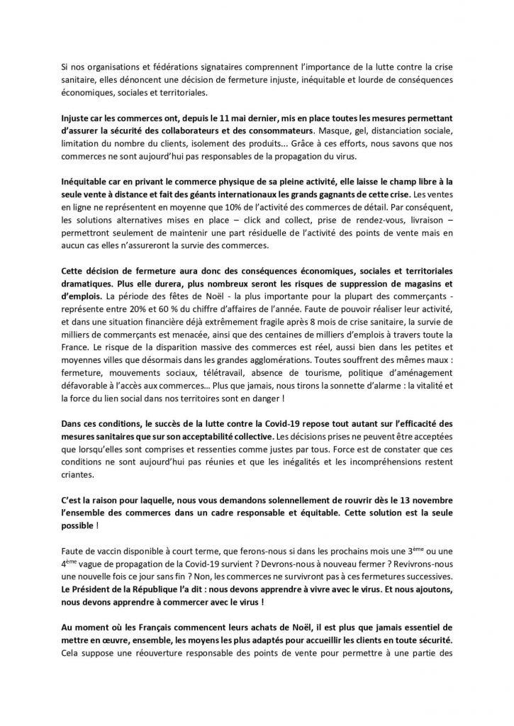 Alliance pour le Commerce-Communiqué-2 novembre 2020